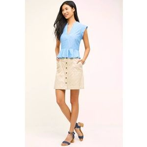 Anthropologie Pilcro And The Letterpress Striped Chino Button Front Skirt 10
